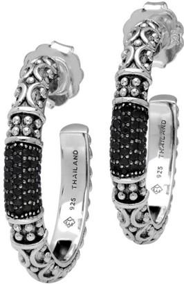 Elyse Ryan Sterling Silver Gemstone Hoop Earrings