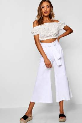 boohoo Paperbag Belted Culottes