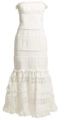 Zimmermann Wayfarer Strapless Cotton And Lace Midi Dress - Womens - Ivory