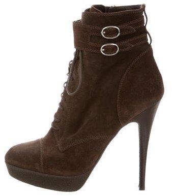 Saint LaurentYves Saint Laurent Suede Pointed-Toe Ankle Boots