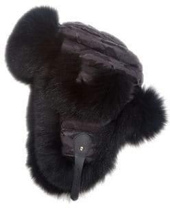 The Fur Salon The Fur Salon Women's Fox Fur Trapper Hat - Black
