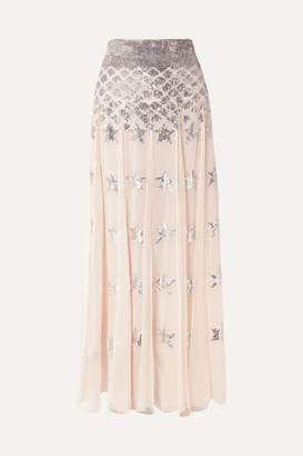 Temperley London Starlet Sequin-embellished Pleated Chiffon And Point D'esprit Maxi Skirt - Pink