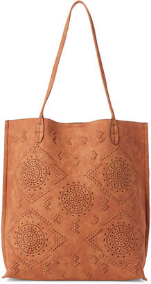 Street Level Brown Whipstitch Tote