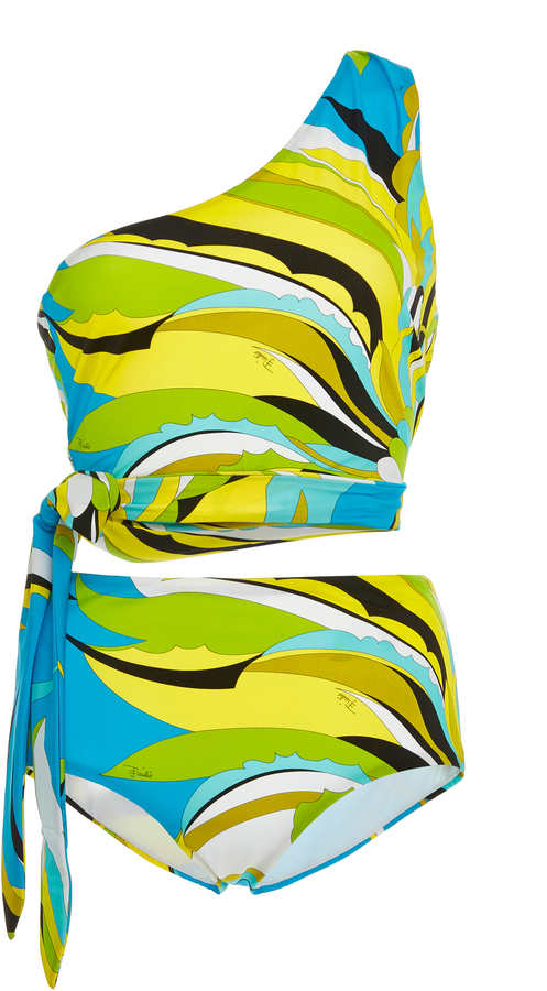 Emilio Pucci Emilio Pucci One-Shoulder Printed One-Piece Swimsuit
