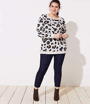 LOFT Plus Leopard Jacquard Sweater