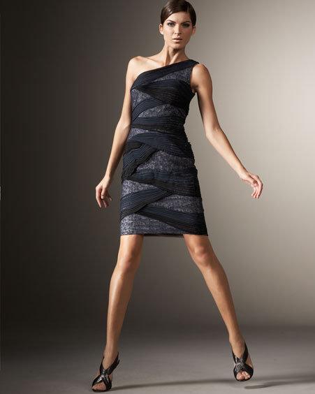 Tadashi Shoji One-Shoulder Overlay Dress