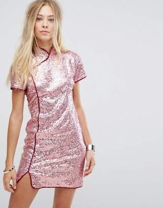 Glamorous High Neck Shift Dress In Sequin