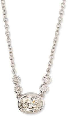 Memoire Bezel-Set Oval Diamond Pendant Necklace in 18K White Gold, 0.55 tdcw