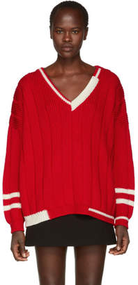 Miu Miu Red Oversized V-Neck Sweater
