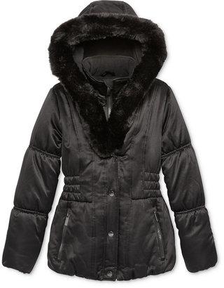 S. Rothschild Girls' Matte Puffer Jacket with Faux Fur Trim, Big Girls (7-16) $130 thestylecure.com
