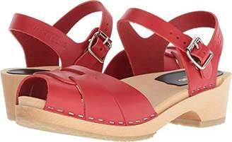 Swedish Hasbeens Women's Peep Toe Low Heeled Sandal