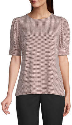 Liz Claiborne Short Sleeve Crew Neck Knit Blouse