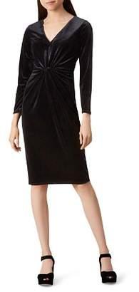 Hobbs London Emilia Twist-Front Velvet Dress