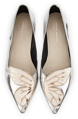 Sophia Webster Bibi Butterfly Metallic Leather Flat