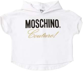 Moschino Logo Print Crop Cotton Sweatshirt