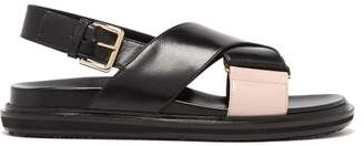Marni Leather Sling Back Sandals - Womens - Black Pink