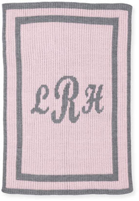 Butterscotch Blankees Monogram Knit Striped-Trim Baby Blanket, Pink