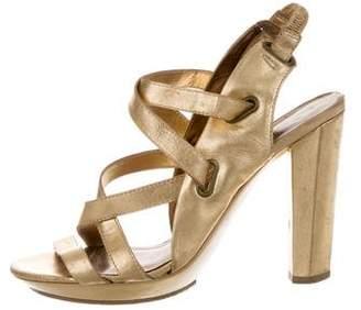 Diane von Furstenberg Metallic Multi-Strap Sandals