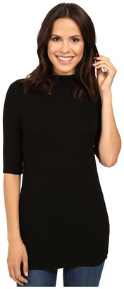 Michael Stars 2x1 Rib Elbow Sleeve Mock Neck Top $78 thestylecure.com