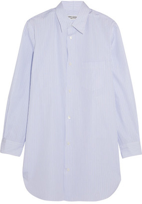 Junya Watanabe - Open-back Striped Cotton-poplin Shirt - White $500 thestylecure.com