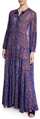 Figue Shambala Floral Chiffon Maxi Shirtdress