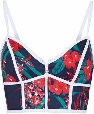Duskii Floral-print Neoprene Bikini Top