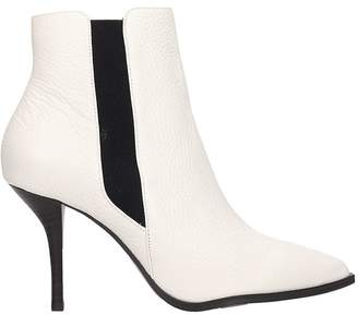 Lola Cruz White Grained Leather Ankle Boot In