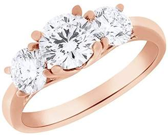 Factory Silver Gems Round Cut Cubic Zirconia Three-Stone Engagement Ring in 14k Gold Over 2 Cttw (rose-gold-plated, 4.5)