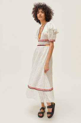 Urban Outfitters Madiera Eyelet Plunging Midi Dress