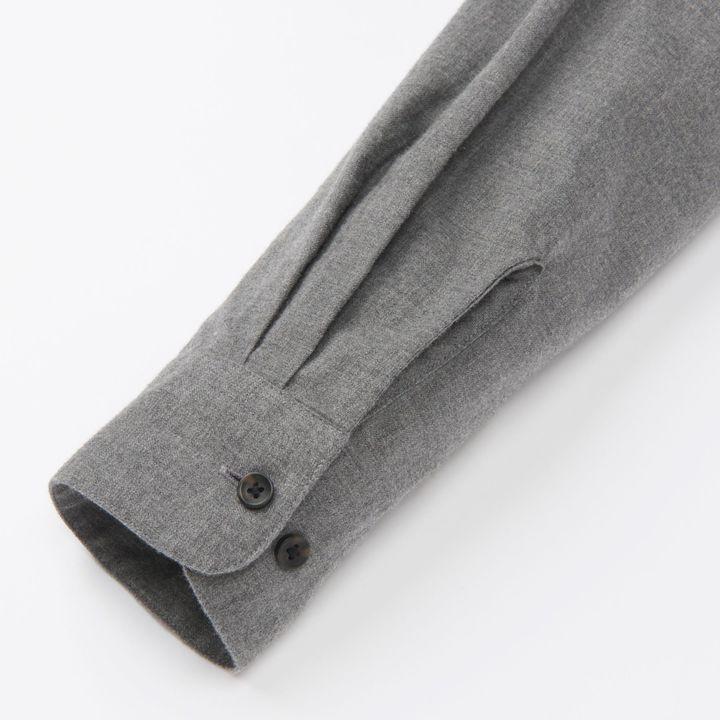 Men Flannel Stand Collar Long Sleeve Shirt 4