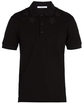 Givenchy Star Embroidered Cotton Polo Shirt - Mens - Black