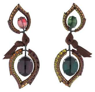 Pre Owned At Therealreal Lanvin Mismatched Crystal Ribbon Chandelier Earrings