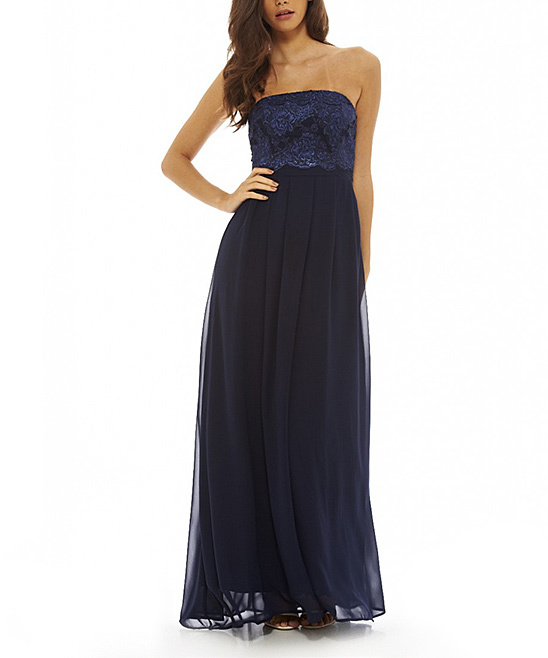 AX Paris Navy Embroidered Strapless Gown