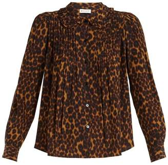 Masscob - Leopard Print Ruffled Collar Blouse - Womens - Leopard