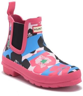 Hunter Floral Stripe Chelsea Rain Boot