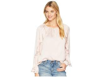 Chaps Hammered Satin Long Sleeve Blouse Women's Blouse