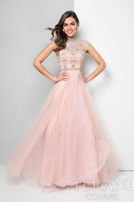 Terani Prom - Elaborate High Neck Tulle A-Line Gown 1712P2899 $495 thestylecure.com