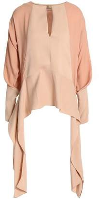 Lanvin Draped Two-Tone Crepe De Chine Blouse