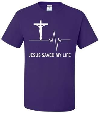 Tee Hunt Jesus Saved My Life T-Shirt Christian Religion Faith God Tee Shirt L