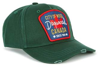 DSQUARED2 Dark Green Embroidered Twill Cap