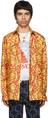 Versace Red and Gold Barocco Print Shirt