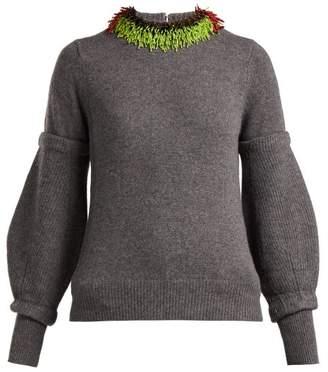 Toga Beaded Wool Blend Sweater - Womens - Grey