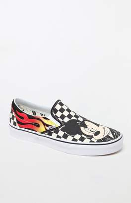 Vans x Disney Mickey & Minnie Checker Flame Slip-On Shoes