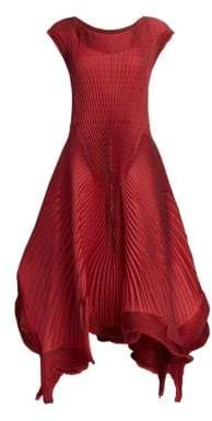 Issey Miyake Women's Pleated Petal Georgette A-Line Dress - Red