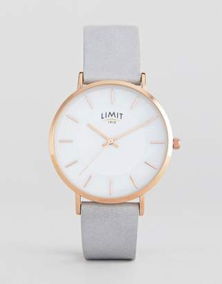 Limit Gray Faux Leather Watch Exclusive To ASOS