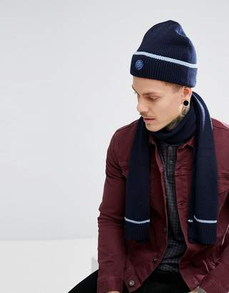 Pretty Green Tipped Beanie & Scarf Gift Set with Gift Box in Navy/Blue