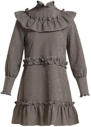 Ganni Charron gingham cotton-blend mini dress