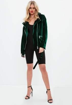 Missguided Green Textured Velvet Jacket, Green