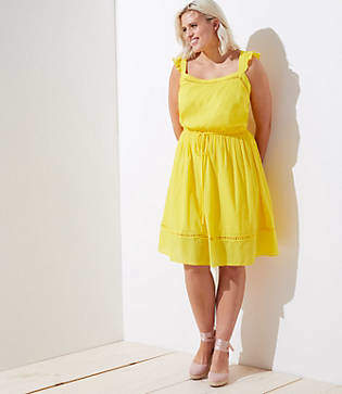LOFT Plus Ruffle Strap Tie Waist Dress
