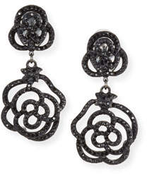 Jose & Maria Barrera Crystal Rose Clip-On Drop Earrings, Jet